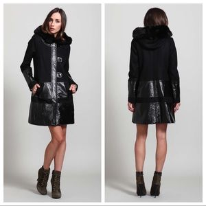 Ooh😍PLENTY Tracy Reese Mixed Media Hooded COAT XS